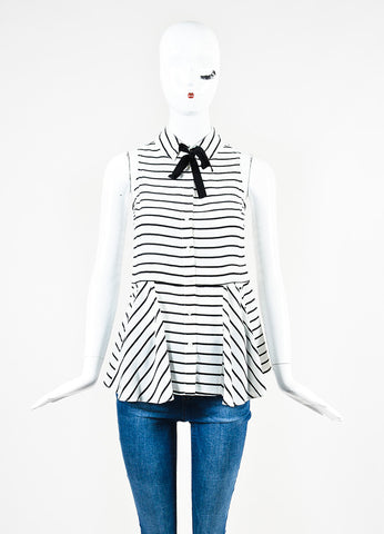 "Marissa Webb White and Black Silk Stripe Layered ""Cynthia"" Sleeveless Top Frontview"