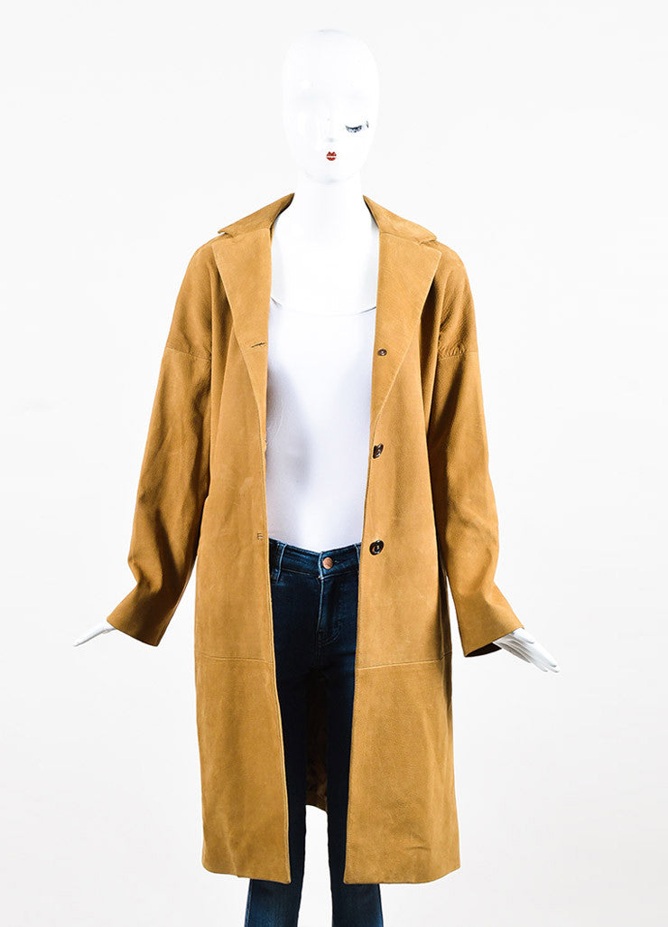 Marni Camel Tan Grained Leather Button Down Long Sleeve Coat Jacket Frontview