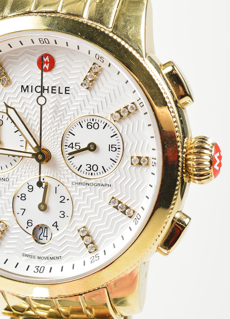 "18K Gold Plated Stainless Steel and Diamond Michele ""Sport Sail"" Chronograph Watch Brand"