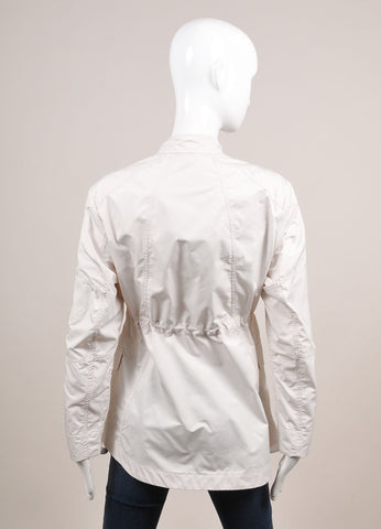 Moorer New With Tags Off White Polyester Military Jacket Backview