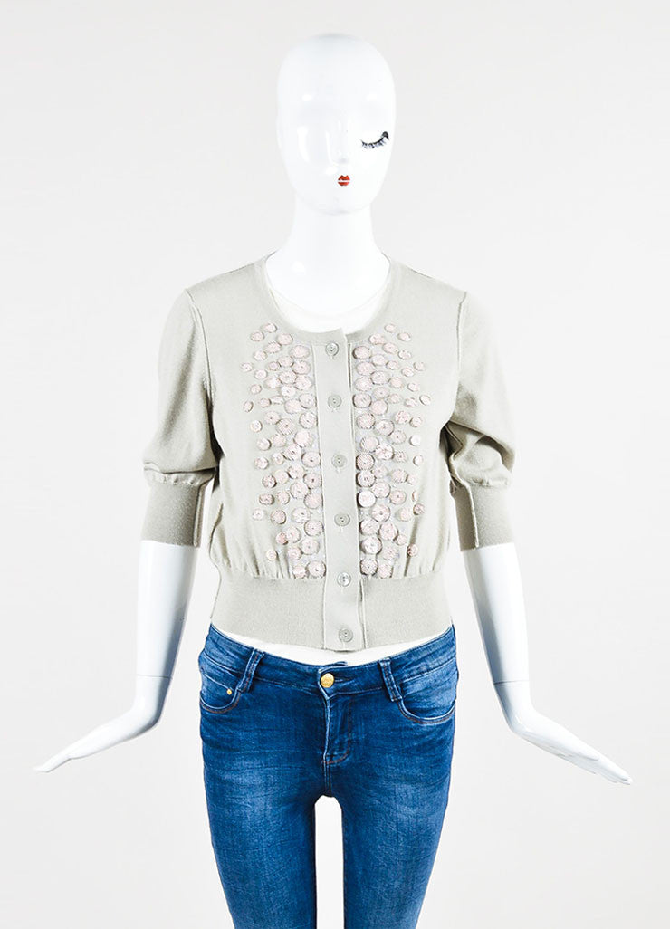 Oscar de la Renta Taupe and Pale Pink Cashmere Silk Embellished Short Sleeve Cropped Cardigan Frontview 2