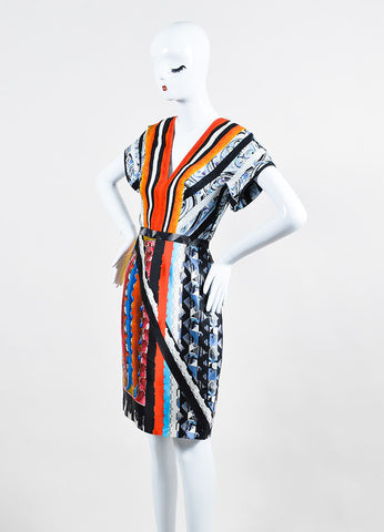 Multicolor Peter Pilotto Silk Graphic Print Short Sleeve Dress Sideview