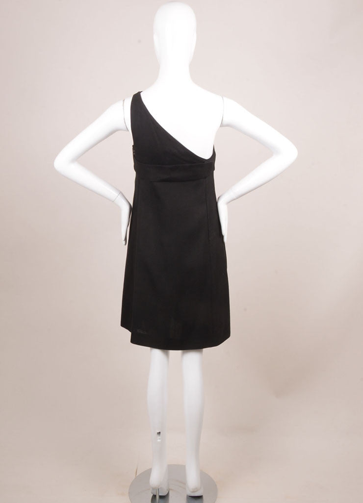 Phoebe Philo for Chloe Black Silk Knit One Shoulder Dress Backview