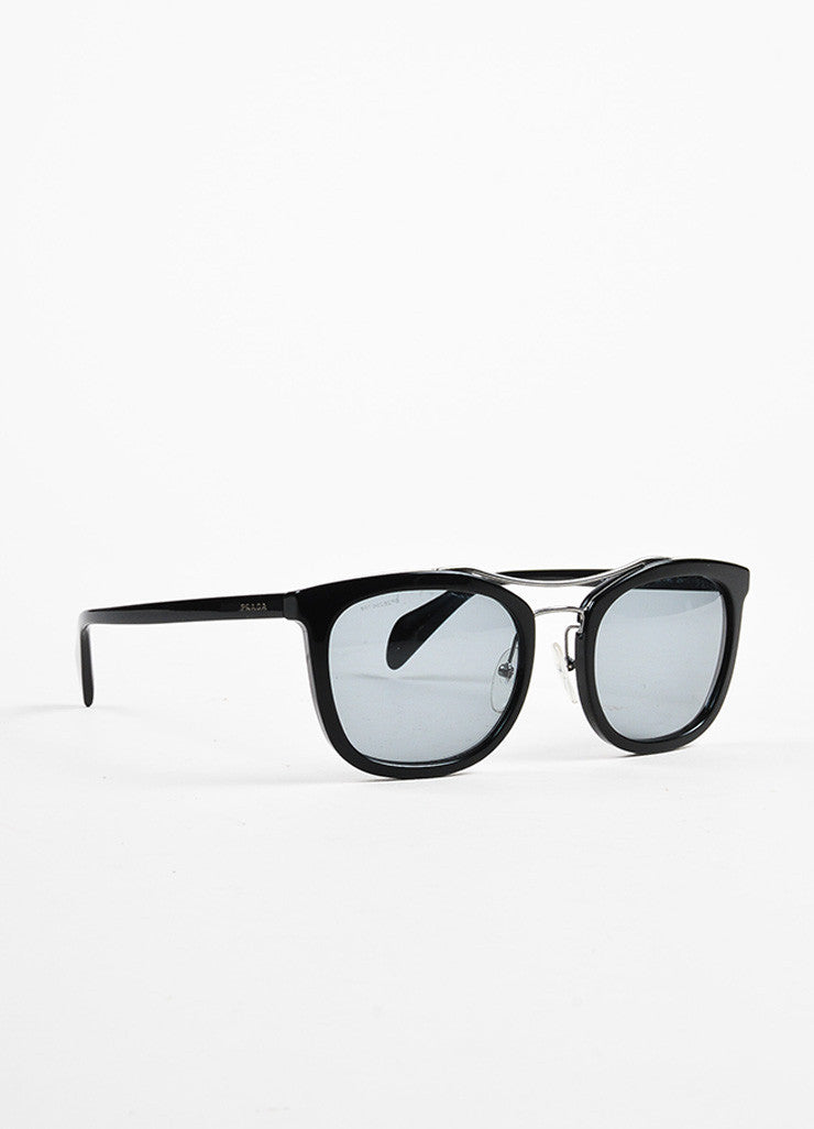 Prada Black and Silver Toned Wire Wayfarer Sunglasses Sideview
