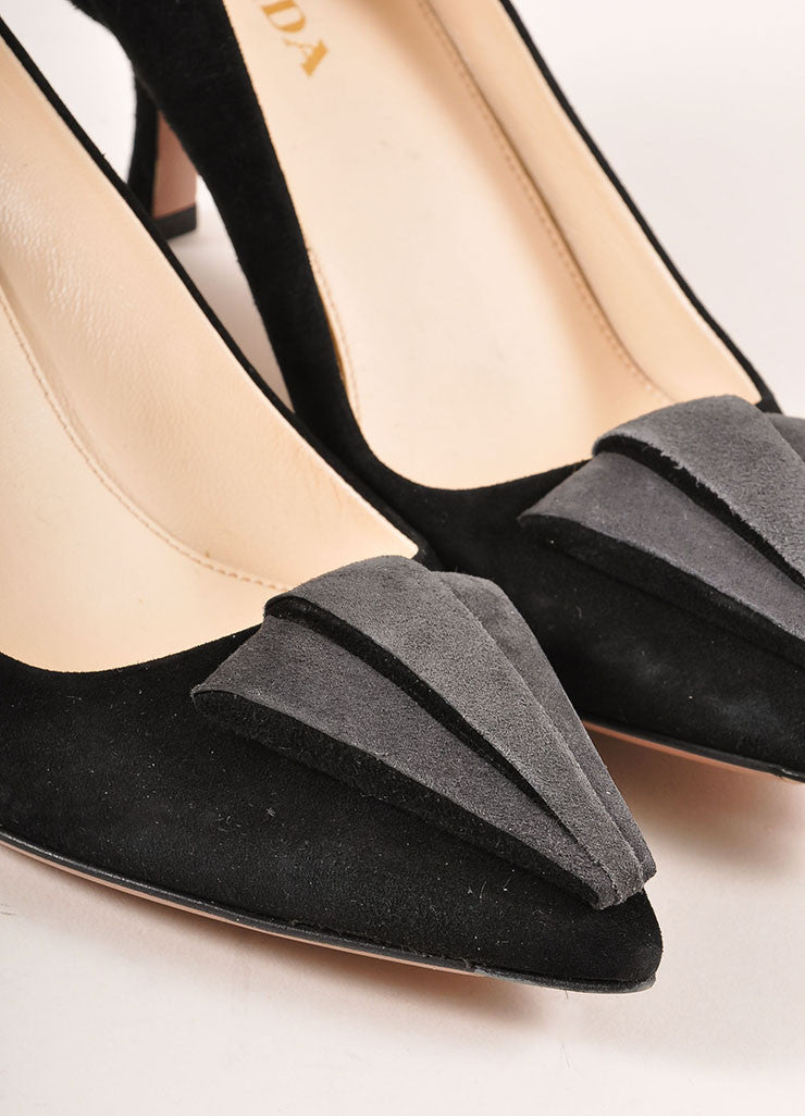 Prada Black and Grey Triangle Applique Pointed Toe Suede Leather Pumps Detail
