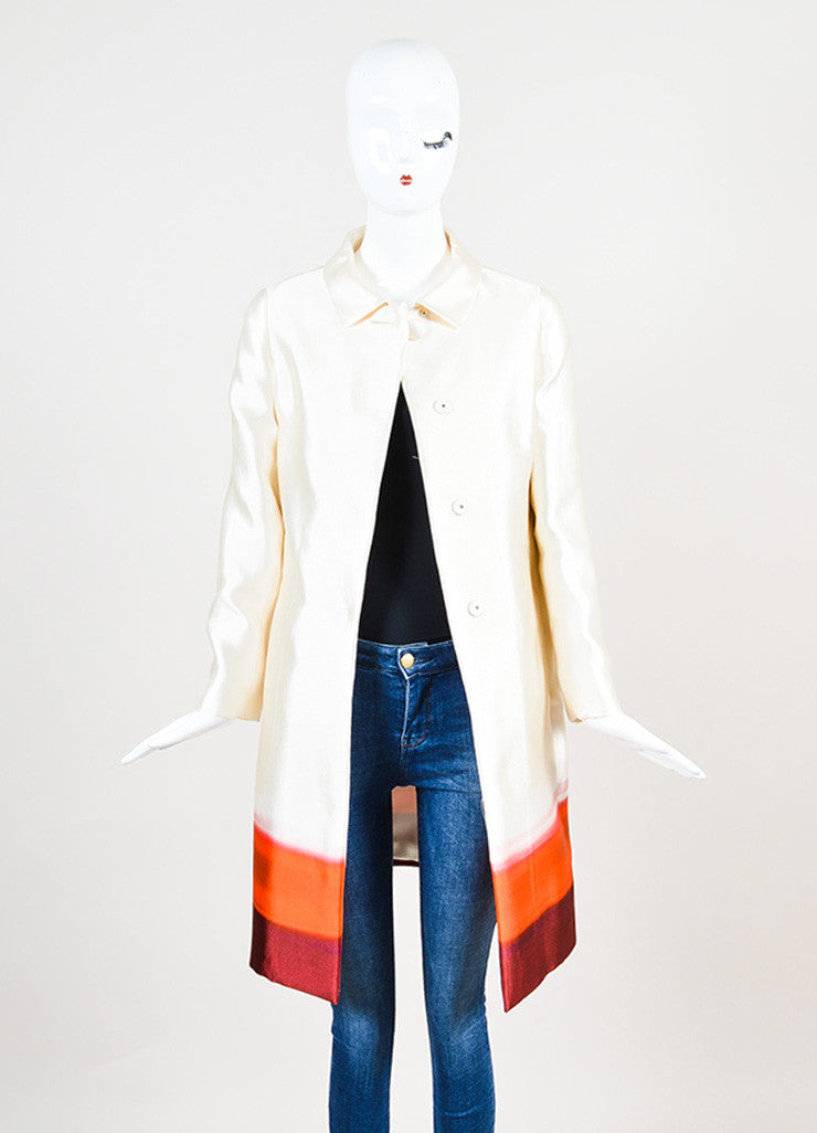 Prada Cream and Red Silk Ombre Long Jacket frontview