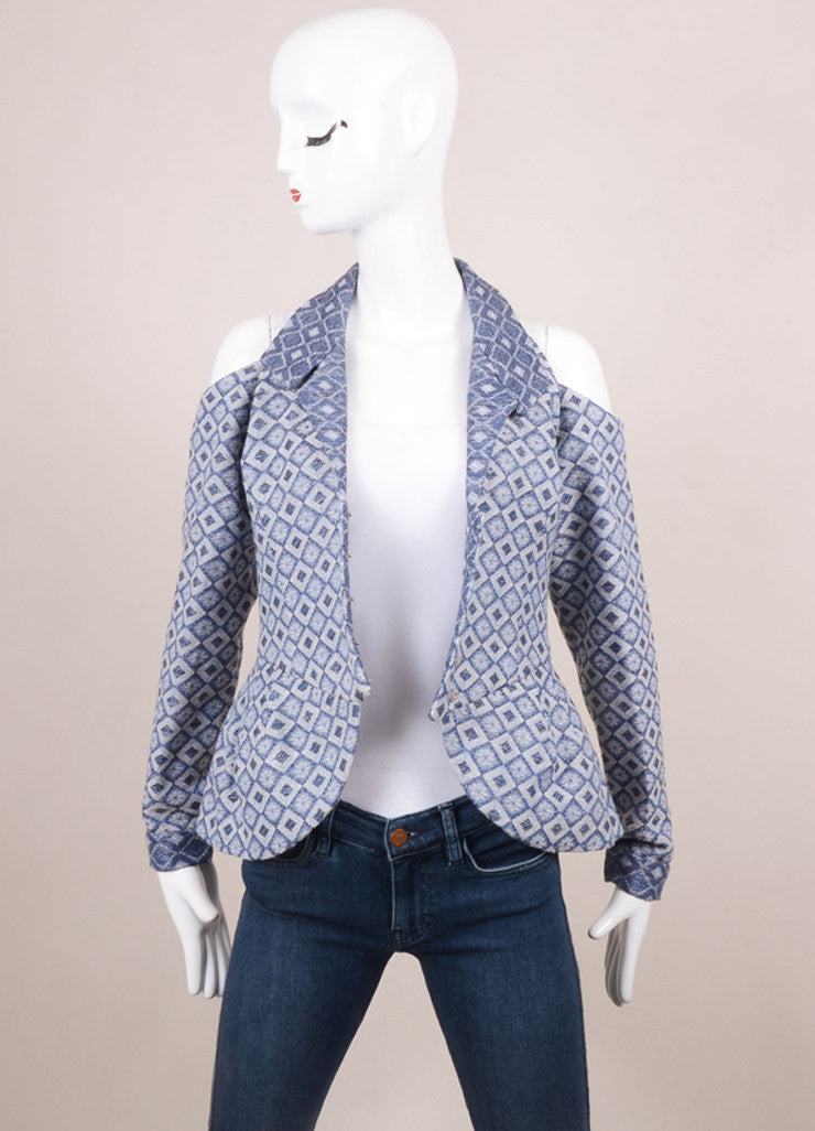 Rodarte New With Tags Blue and White Jacquard Cut Out Long Sleeve Jacket Frontview