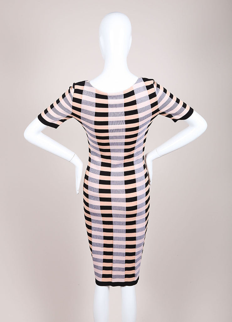 Sonia Rykiel New With Tags Black and Nude Stretch Knit Stripe Bow Print Dress Backview