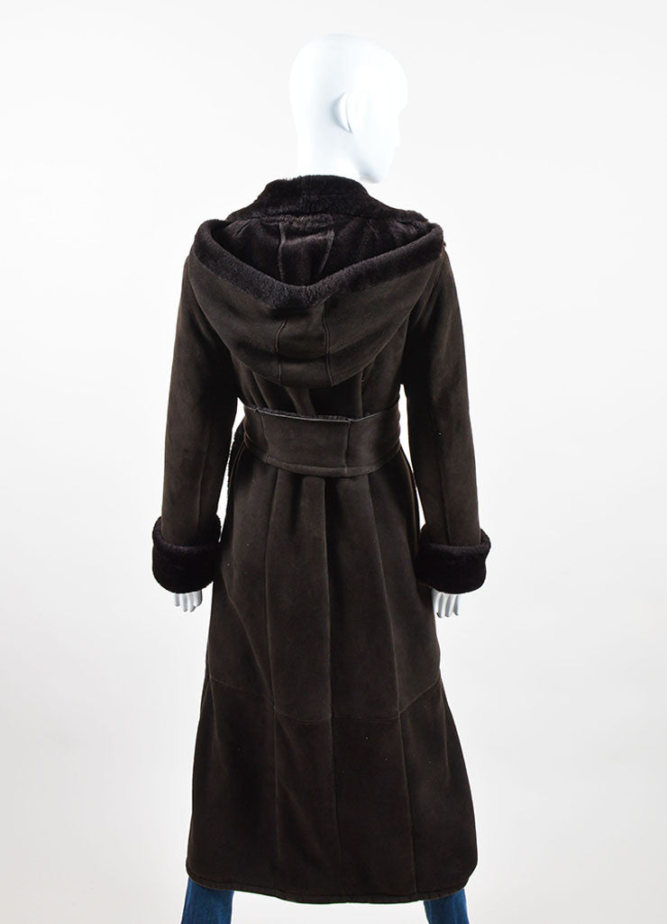 Brown Stefania Sarre Suede Shearling Hooded Long Coat Back