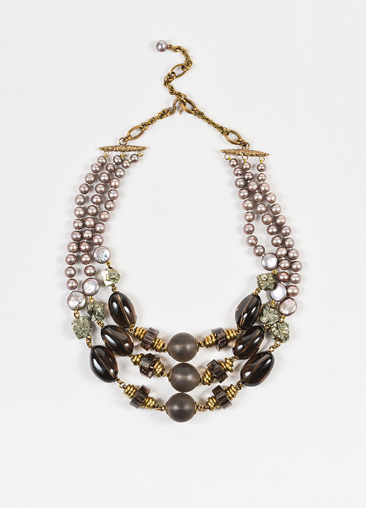 Stephen Dweck Bronze Pearl Smoky Quartz Multi Strand Statement Necklace Frontview