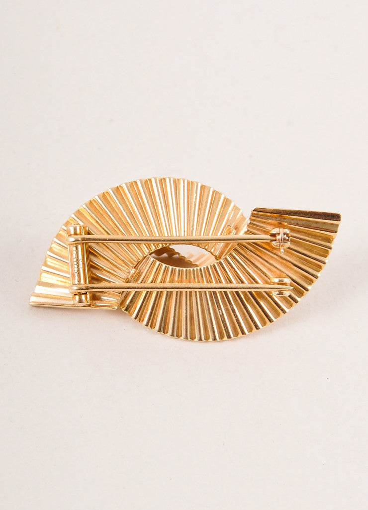 Cartier 14K Gold Thick Single Wave Pin Brooch Backview