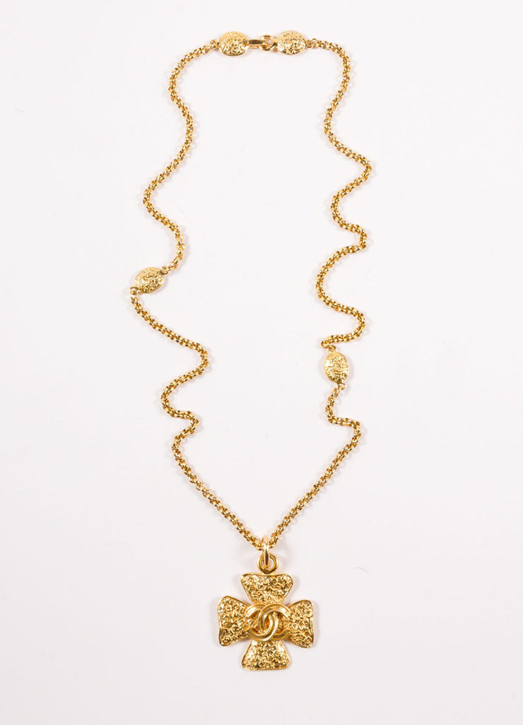 "Chanel Gold Toned ""CC"" Four Leaf Clover Pendant Necklace Frontview"