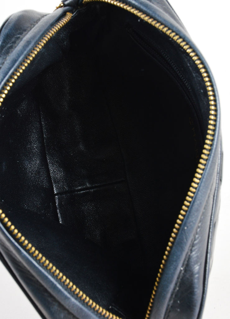 Vintage Chanel Black Leather Quilted Cross Body Bag Interior 1