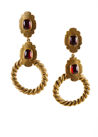 Gold Toned and Red Chanel Textured Dangle Open Circle Earrings Frontview