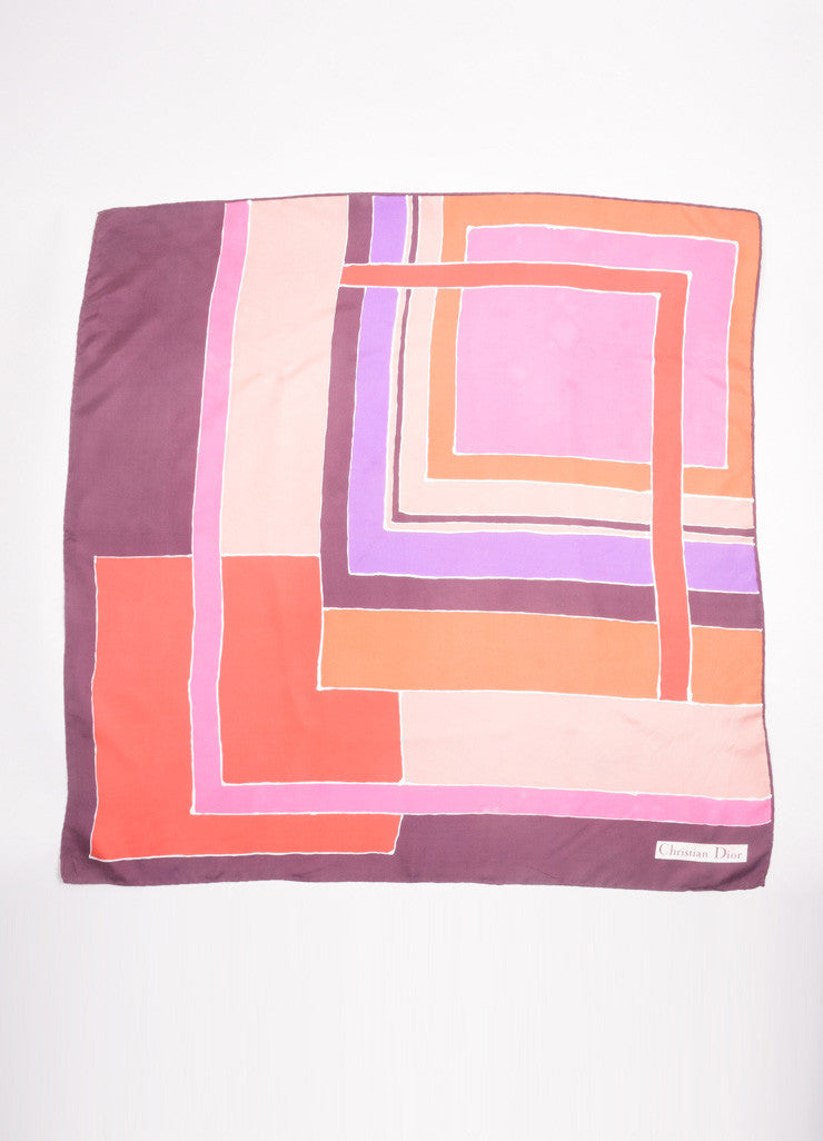 Christian Dior Purple, Pink, and Red Block Print Silk Square Scarf Frontview