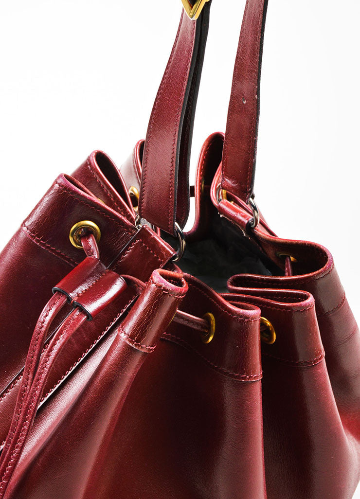 "Hermes Maroon Box Calf Leather ""Market 27cm"" Drawstring Bucket Bag Detail 3"