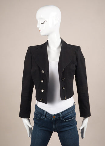Karl Lagerfeld Black Paneled Canvas Double Breasted Cropped Jacket Frontview