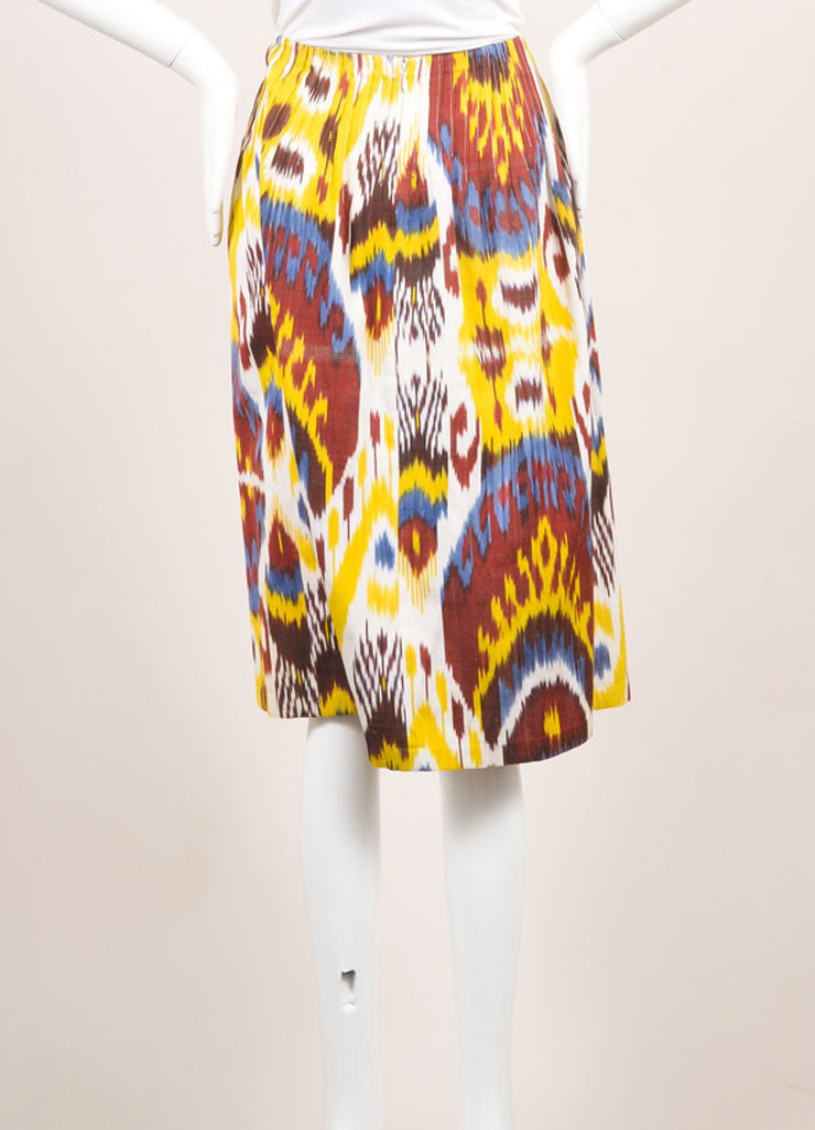 Vintage Oscar De La Renta Red, Yellow, And Blue Ikat Print A Line Skirt Sideview