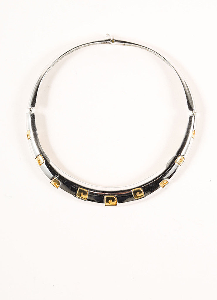 Pierre Cardin Silver and Gold Toned Logo Cut Out Choker Necklace Frontview