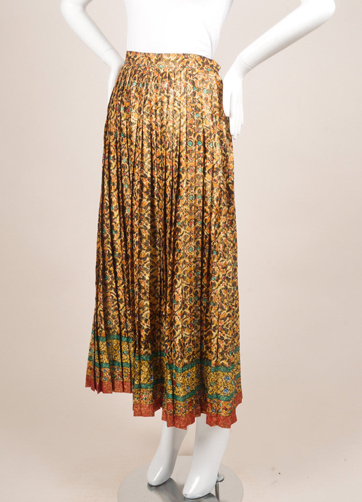 Saint Laurent Gold, Black, and Green Metallic Printed Pleated Skirt Sideview