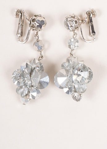 VINTAGE Vendome Silver Tone Reflective Beaded Embellished Drop Clip On Earrings Frontview