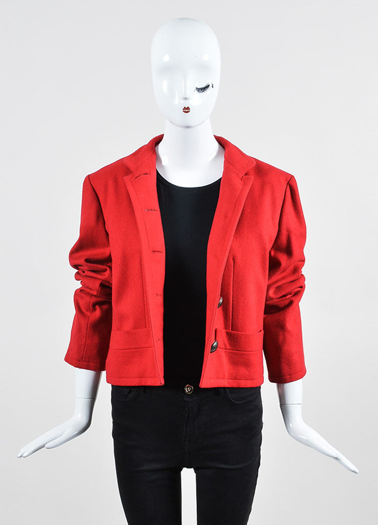 Red Yves Saint Laurent Wool Button Tailored Jacket Frontview