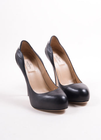 "Valentino Black Leather Silver Embellished ""Drape"" Platform Pumps Frontview"