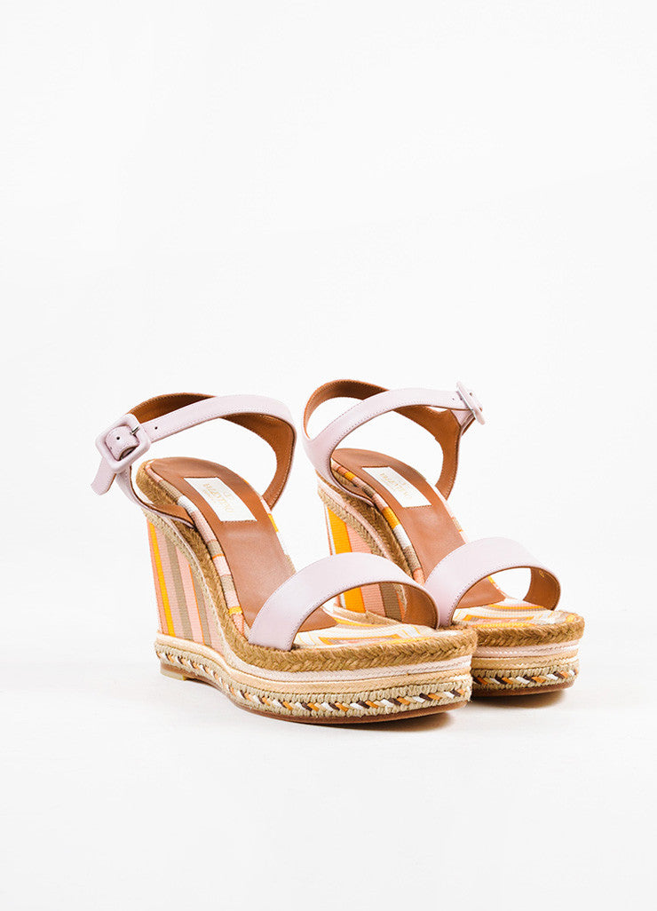 Valentino Pink Striped Leather Canvas Espadrille Wedge Sandals Frontview