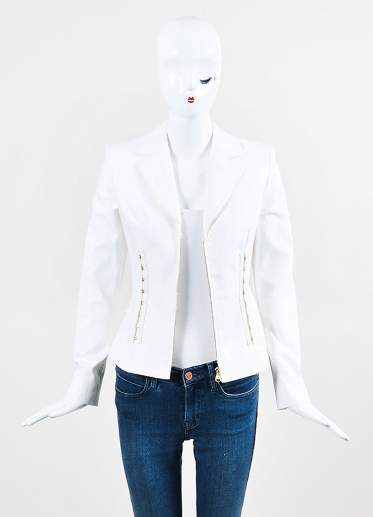 Versace White Cotton Gold Toned Hook and Eye Detail Zip Up Blazer Jacket Frontview