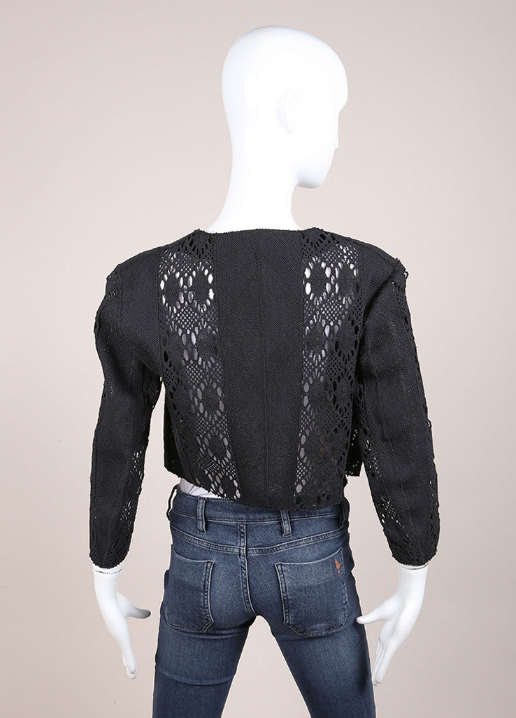 Yves Saint Laurent Black Pique Woven Embroidered Cut Out Crop Jacket Backview