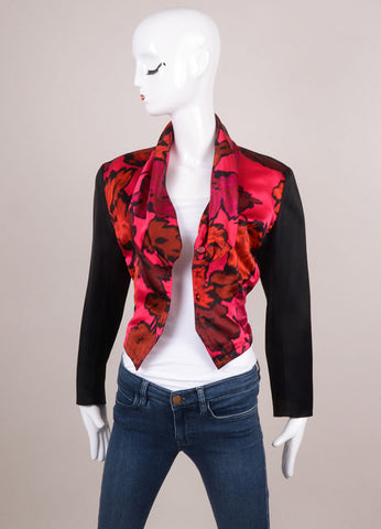Pink and Black Celine Floral Print Satin Fitted Jacket