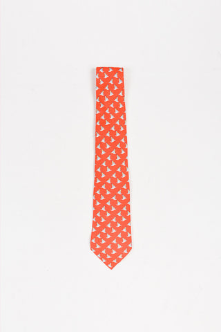 Men's Hermes Red Multicolor Silk Sailboat Print Necktie Front 2