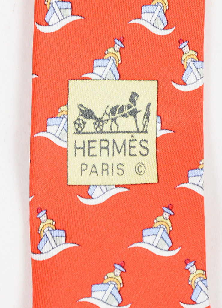 Men's Hermes Red Multicolor Silk Sailboat Print Necktie Brand
