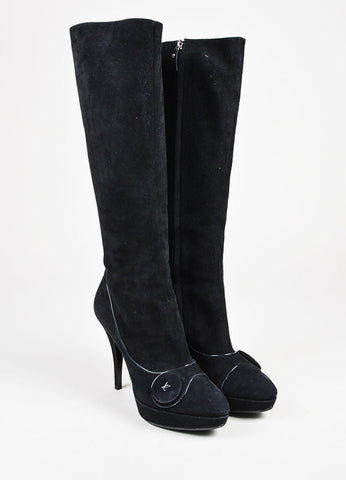 Louis Vuitton Black Suede Knee High Platform Almond Toe Boot Heels Frontview