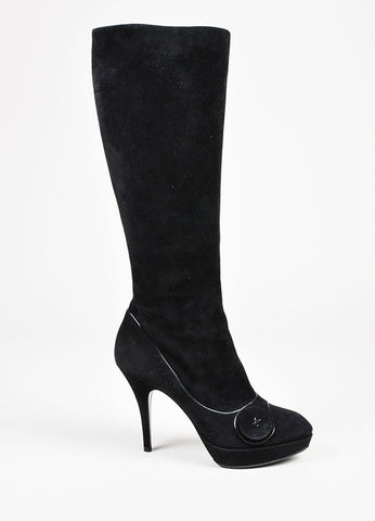 Louis Vuitton Black Suede Knee High Platform Almond Toe Boot Heels Sideview