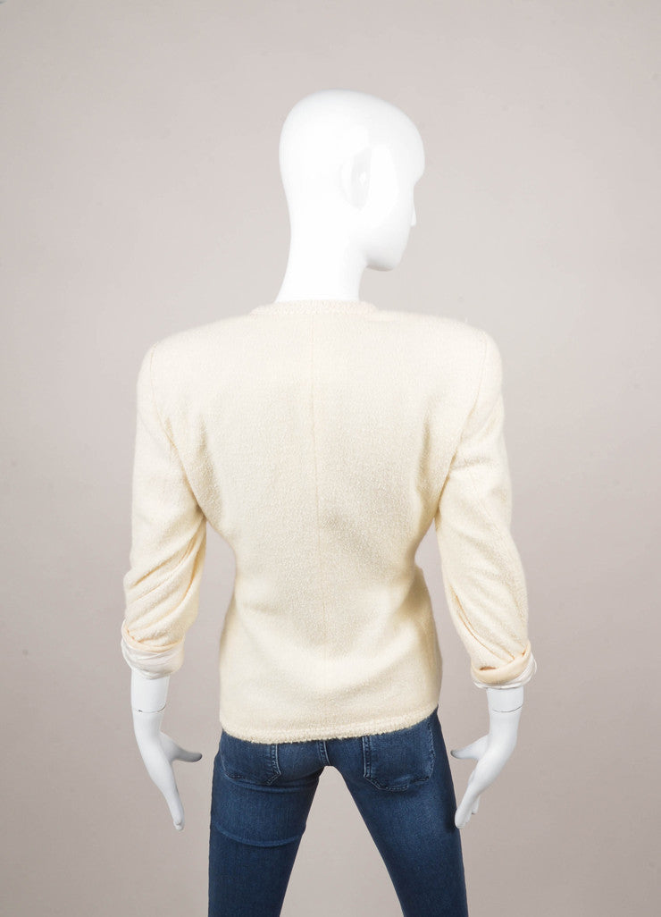 Cream Textured Wool Collarless Double Breasted Jacket