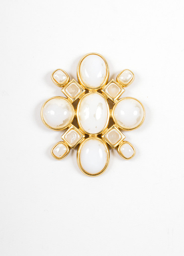 Chanel Gold Toned and Cream Geometric Stone Embellished Oversized Brooch Frontview