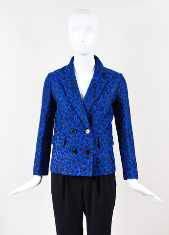 3.1 Phillip Lim Blue Black Knit Leopard Print Long Sleeve Blazer Front
