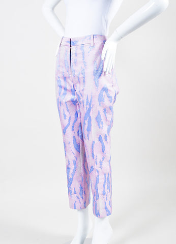 3.1 Phillip Lim Pink and Blue Silk Brocade Printed Cropped Trousers Sideview