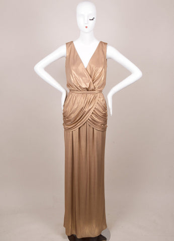 Gold Metallic Sleeveless Deep V-Neck Wrap Gown