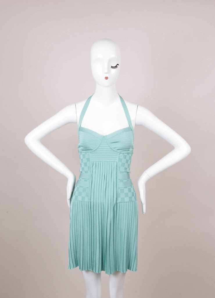 Balmain Mint Green Pleated Halter Dress