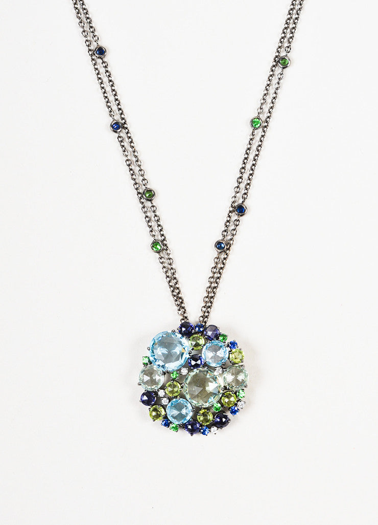 "A & Furst 18K Gold, Blue Sapphire, and Diamond ""Bouquet"" Pendant Necklace Detail"
