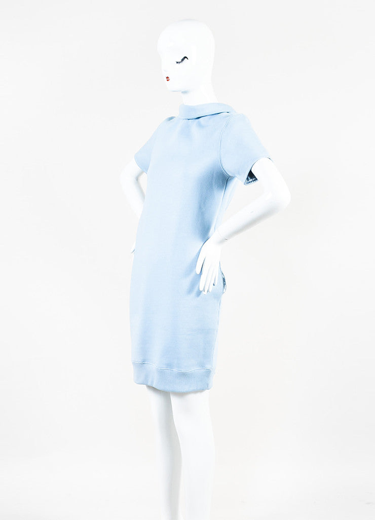 "Acne Studios Light Blue Cotton Knit ""Lois"" Short Sleeve Sweatshirt Dress Sideview"