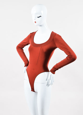 Alaia Brick Red Stretch Knit Long Sleeve Scoopneck Bodysuit Sideview