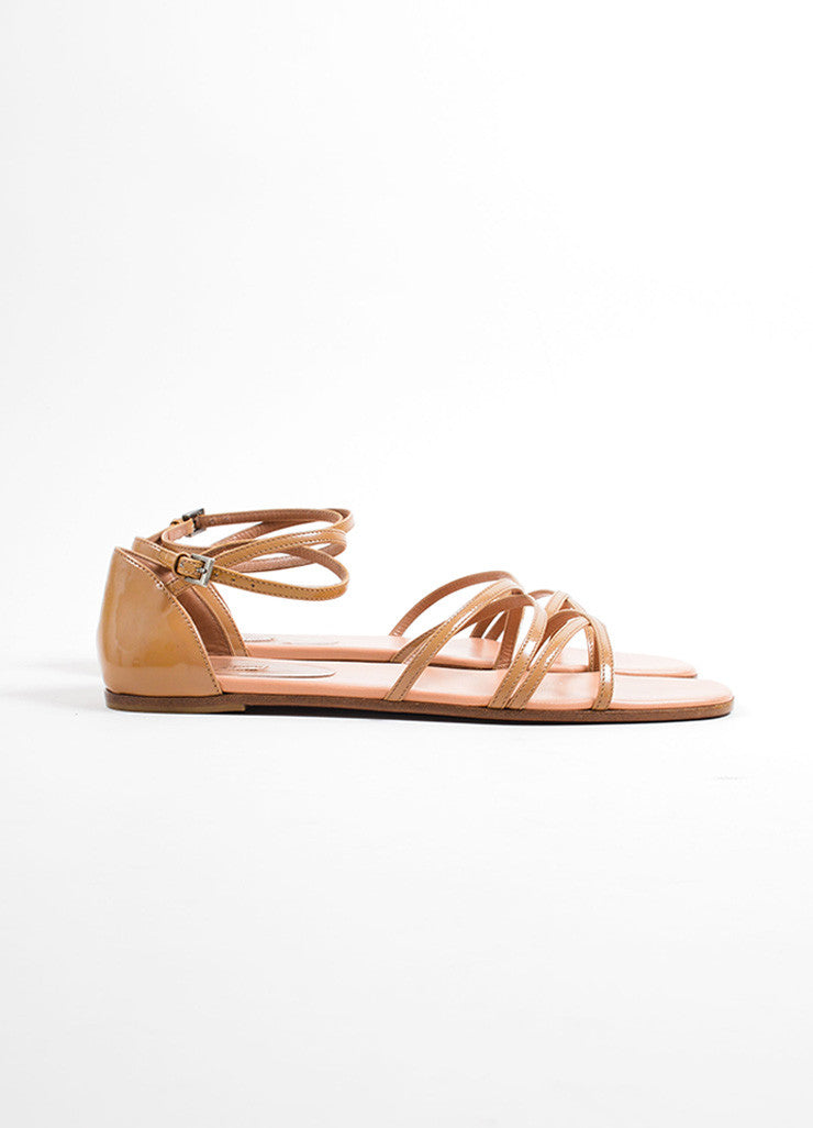 Alaia Tan Patent Leather Square Toe Strappy Flat Sandals Sideview