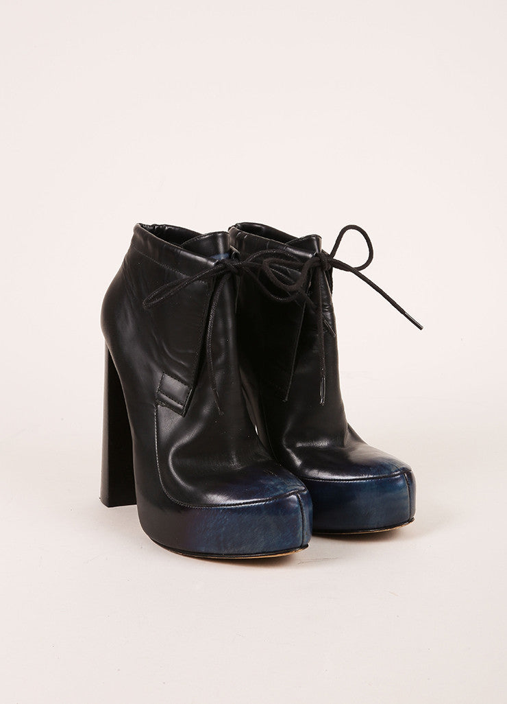 "Alexander Wang Blue Leather ""Constance"" Ankle Boots Frontview"