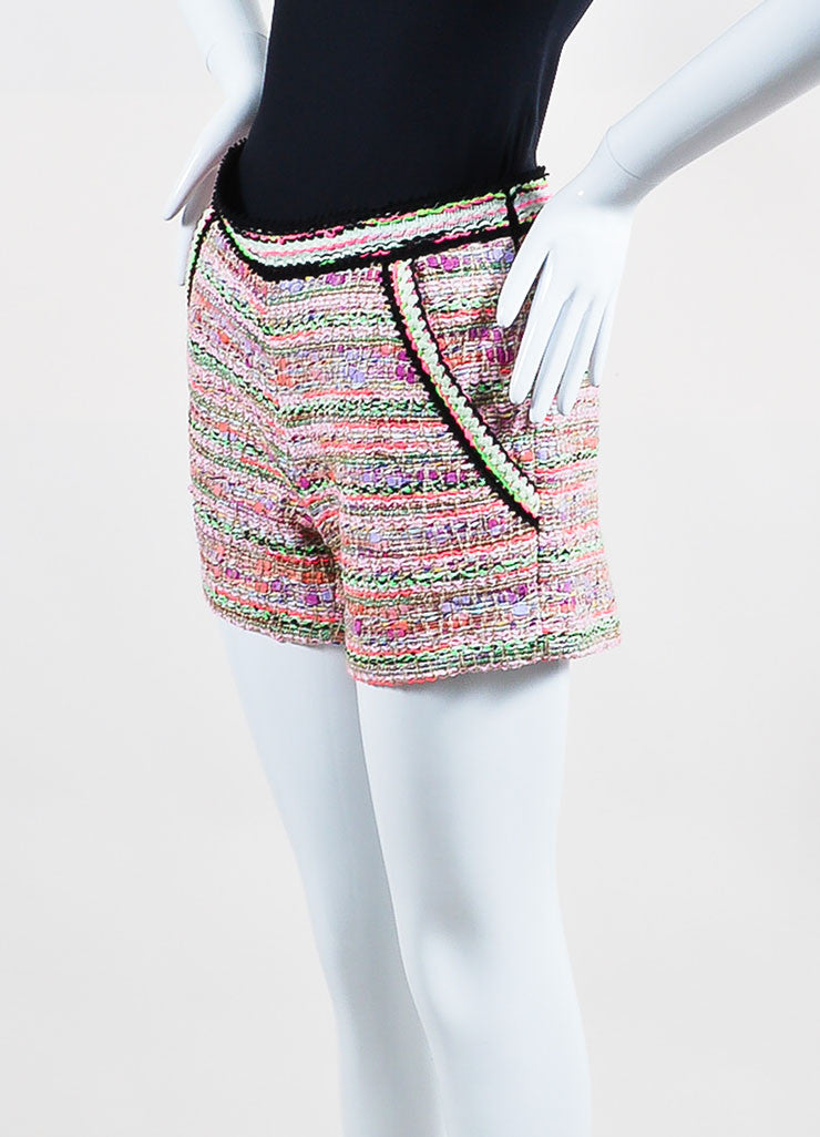 Pink and Multicolor Neon Andrew Gn Tweed Shorts Sideview