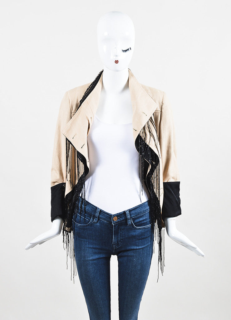 Ann Demeulemeester Beige and Black Cotton Bead Fringe Double Breasted Jacket Frontview