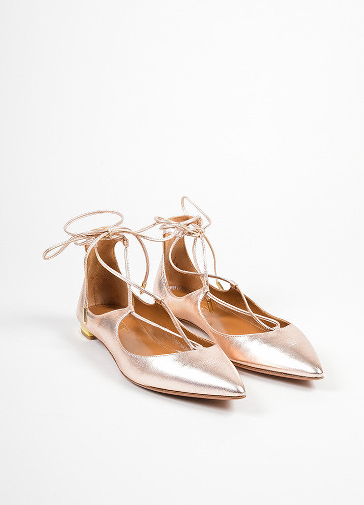 "Rose Gold Leather Aquazzura ""Christy"" Pointed Toe Lace Up Flats Frontview"