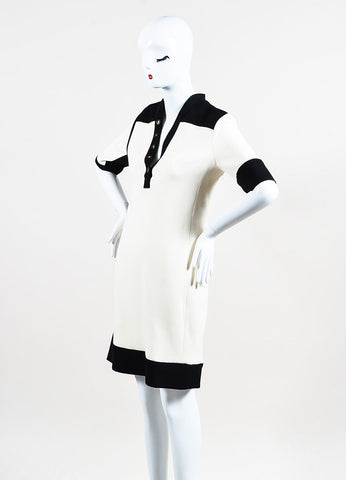 Balenciaga Cream and Black Crepe Color Block Short Sleeve Dress Sideview